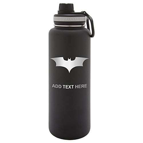 Army Force Gear Personalized Batman Begins The Dark Knight Laser Engraved Thermoflask Leak Proof Insulated Stainless Steel Workout Sports Water Bottle Tumbler, 24 Oz, Black