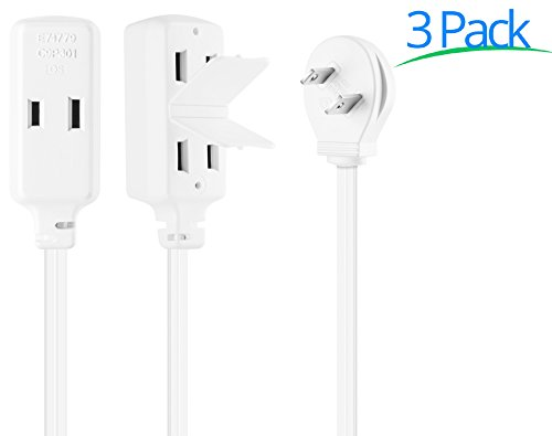 Maximm Cable 1 Foot Flat Plug Extension Cord/Wire, Multi Outlet - Angled Plug Extension Cord with Safety Water Proof Cover - 3 Pack - White