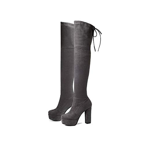 myeuphoria Over The Knee High Boots Sexy Elegant Winter Shoes Square High Heel Round Toe Platform Boots