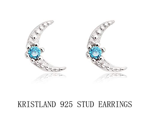 KristLand - S925 Sterling Silver Moon Form Earrings with Crystal Prong Delicate Minimalist Stud Earrings Silver Color ()