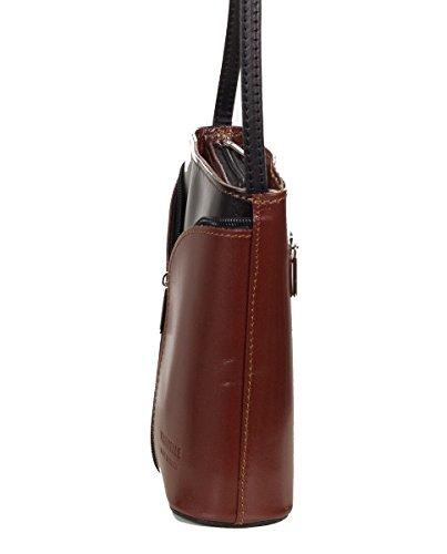 Bolso de hombro pequeño italiano, de piel suave (18 x 19 x 7 cm) Marrón / Negro
