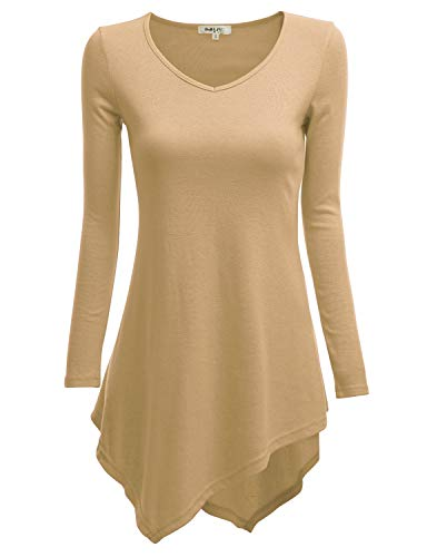 - TWINTH V-Neck Tunic Handkerchief Longline Tunic T-Shirt Dress Top for Women with Plus Size Beige 4XL