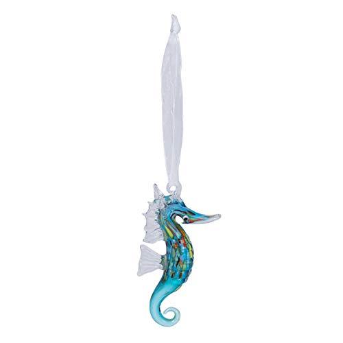 Beachcombers Coastal Life Decorative Ocean Ornament with S-Hook (Blue Seahorse, 04034) (Ornaments Glass Dolphin)