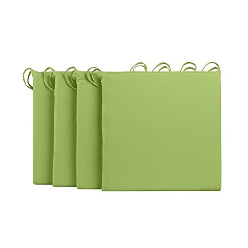16 x 16 Square Set of 4 Patio Seat Chair Cushions Pads Key Lime Pie Green
