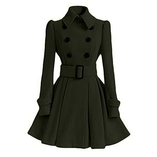 Double Greenxl Coat Warm Row Hjhkjhiu Long Lapel Woolen