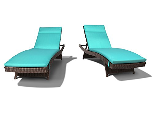 Ulax Furniture 2 Pack Adjustable Outdoor Patio Rattan Wicker Chaise Lounge Chair Set with Cushion Pad, Aruba Blue