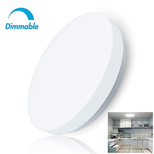 W-LITE 20W Dimmable Led Flush Mount Ceiling Lighting Fixture,Modern Round Close to Ceiling Lights IP44 5000K Daylight White for Bathroom,Hallway, Store, Kitchen, Balcony, Bedroom, Stairwell,10inch