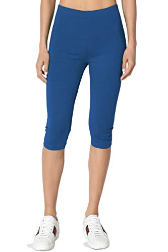 TheMogan Women's Basic Cotton Spandex Below Knee Length Leggings Sapphire XL