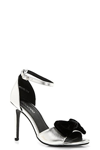 Damen Silber Lydia Zweiteilige Sandalen Mit Absatz Und Schleife Silber
