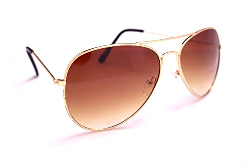 Classic Thin Framed Aviators Gradiant Lens Sunglasses, Gold Frame, Brown Lens