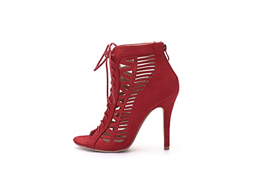 Lady Alula Red and Cut Lady Peep Laser Stiletto Sexy Shoes Heeled Strappy Mila Toe v5qx6gwv