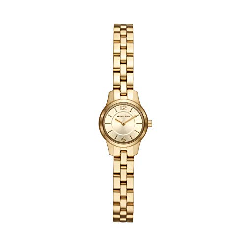 (Michael Kors Women's Runway Quartz Watch with Stainless-Steel-Plated Strap, Gold, 8 (Model: MK6592))