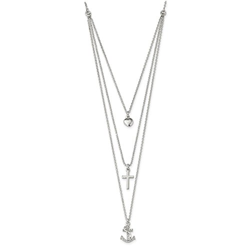 Lex & Lu Sterling Silver CZ Heart/Cross/Anchor Multi-Strand 16