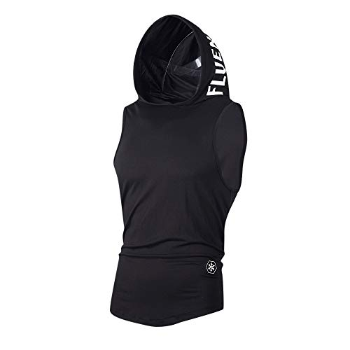 YOcheerful Men Vest Hoody Hood Sleeveless Tank Top Summer Sportswear Zip Tunic (Black, US L, TAG ()