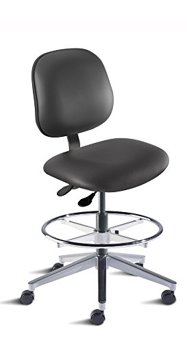 BioFit Engineered Products BEA-M-RC-ATF-AV126 Belize Series Desk Height Chair with Aluminum Base and Black Vinyl Upholstery, Black
