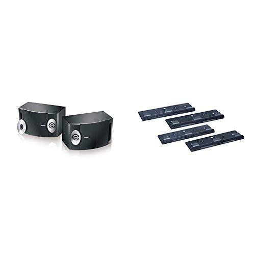 BOSE 201-V Stereo Loudspeakers (Pair) - Black & WB-3 bookshelf speaker wall brackets (pair) - Black