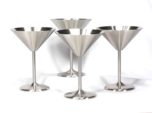 (Trendiware Stemmed Martini Cocktail Glasses 7 oz. (Stainless Steel, 4))