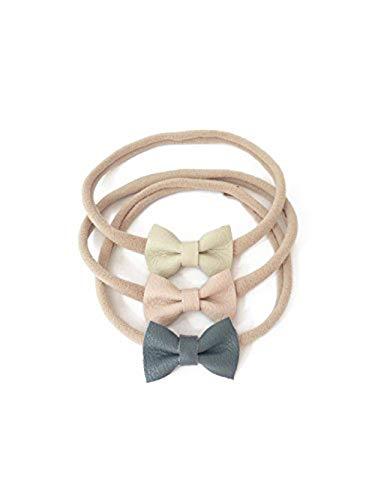 Indie Bow Co Handmade Genuine Leather Micro Mini Bow Headbands Set of 3 in Grey, Cream, Blush