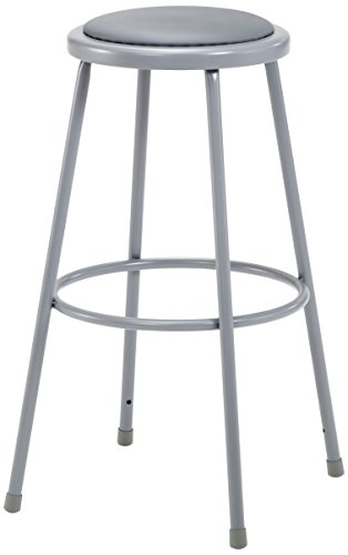 National Public Seating 6430-CN  Grey Steel Stool with 30'' Vinyl Upholstered Seat (Pack of 3) by National Public Seating