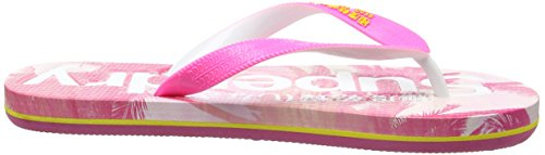 Superdry Damen Aop Zehentrenner Multicolore (Fluro Pink/Cyber Yellow/Pink Palm Print)