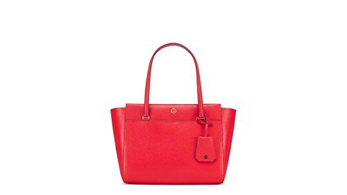Tory Burch PARKER SMALL TOTE Cherry Apple/Royal Navy interior