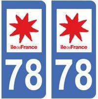 2 Pegatinas 78 Yvelines Ile de France matrícula departamento Auto ...