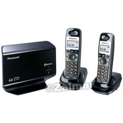 Panasonic DECT 6.0 Expandable Link-to-Cell Bluetooth®-Enabled Dual Handset Phone System with Landline Capability, Talking Caller ID & Talking Alarm Clock (Model# KX-TH1212B)