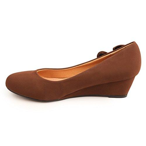 La Modeuse piel sintética, diseño de zapato de tacón compensado tacto suave, Marrón (marrón), 41