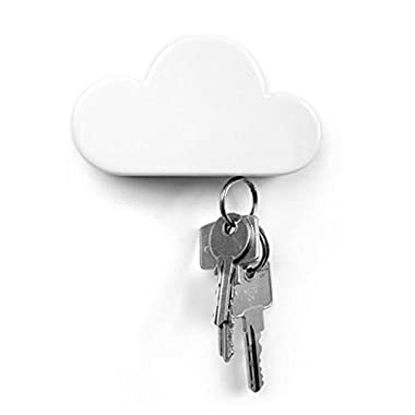 Twone White Cloud Magnetic Wall Key Holder - Easy to Mount - Powerful Magnets Keep Keychains and Loose Keys Securely in Place
