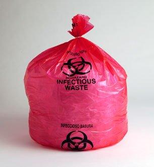 24 X 24, (07-10 Gallon) LOW DENSITY RED BIOHAZARD WASTE BAGS, 200/Case, 1.5 Mil by PackagingSuppliesByMail