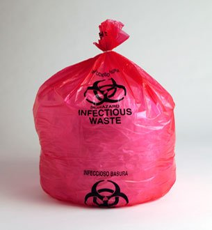 24 X 24, (07-10 Gallon) LOW DENSITY RED BIOHAZARD WASTE BAGS, 200/Case, 1.5 Mil