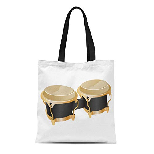 Semtomn Cotton Canvas Tote Bag Brown Pair of Realistic Percussion Music Instrument Conga Drum Reusable Shoulder Grocery Shopping Bags Handbag Printed