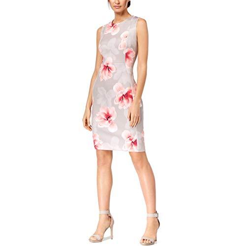 (Calvin Klein Women's Petite Scuba Sleeveless Princess Seamed Sheath Dress, Khaki Multi, 10P )