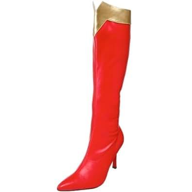 Funtasma by Pleaser Women's Wonder-130 Knee-High Boot,Red/Gold Str. Pu,6 M US