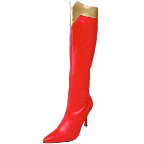 Funtasma by Pleaser Women's Wonder-130 Knee-High Boot,Red/Gold Str. Pu,12 M - S Str