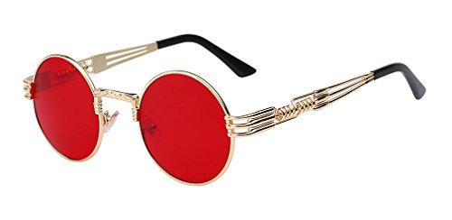 revêtement Lunettes lunettes de rétro lunettes vintage Sea soleil métal soleil Gold Red Haoling W en hommes steampunk Lens de rond PqSxw7