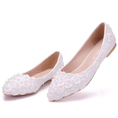 Raso Da 5 Floreale 6 Uk Matrimoni flat Con Per White Ballerine colore Qiusa flat White Motivo Donna Sposa In Dimensione Cerimonia wSg0vq