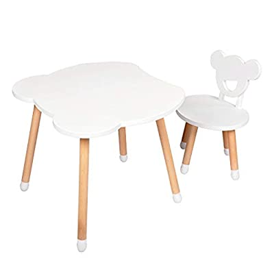 Kinbor Baby Kids Beech Wood Table and Chair Set- 1 Children Bear Seats with 1 Bear Tables Set Little Kid Children Furniture Accessories: Kitchen & Dining