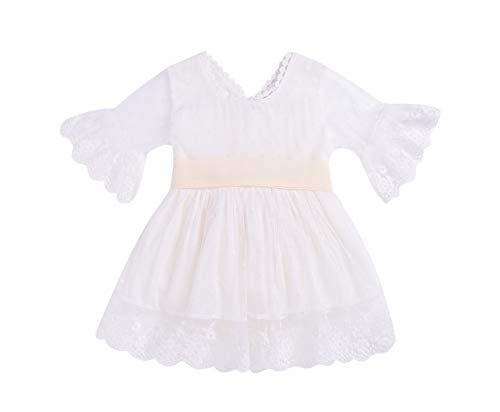 Toddler Baby Girl Skirt Sets Lace Ruffle Vintage Wedding Birthday Dress Summer Outfits Clothes (White, 2-3T)