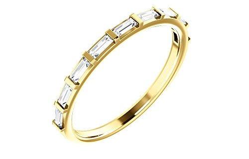 (Jewels By Lux 14K Yellow Gold 1/4 CTW Diamond Straight Baguette Anniversary Wedding Ring Band)