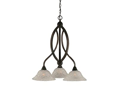 Toltec Lighting Bow Three-Light Down light Chandelier Black Copper Finish with Italian Bubble Glass Shade