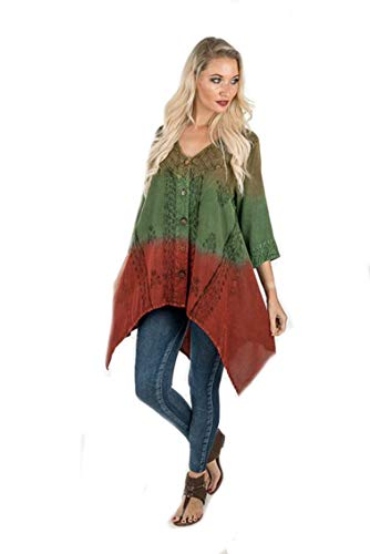 - Sacred Threads Dip Dye Beautful Lagenlook Embroidered Top S/M