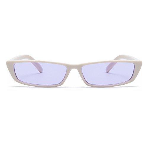 b0e6211be194 Gobiger Rectangle Small Frame Sunglasses Fashion Designer Square Shades for  Women (White Frame