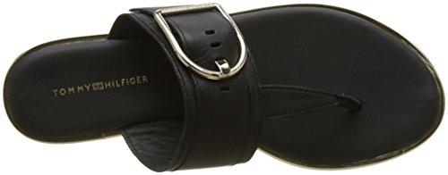 Tommy Hilfiger Damen Flat Sandal Oversized Buckle T-Spangen Schwarz (Black 990)