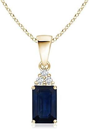 ANGARA Colgante de Zafiro Azul de Corte Esmeralda con trío de Diamantes (7 x 5 mm Zafiro Azul)