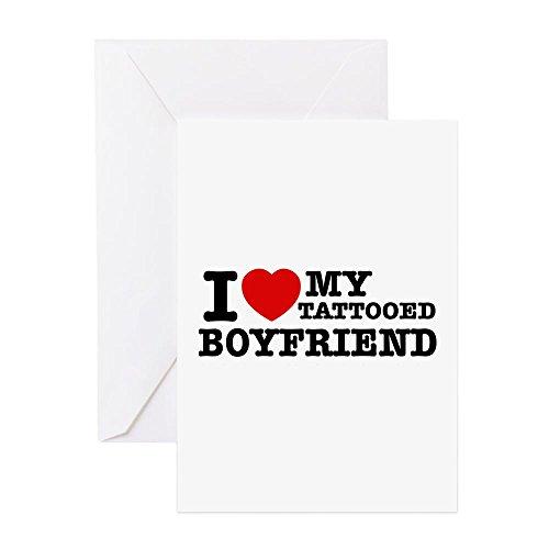 CafePress - I Love My Tattooed Boyfriend - Greeting Card, Note Card, Birthday Card, Blank Inside Glossy