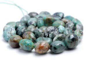 - 9-11MM African Turquoise Gemstone Pebble Nugget Loose Beads 7.5