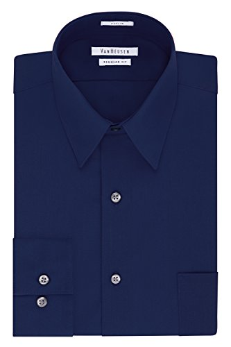 Van Heusen Men's Dress Shirt Regular Fit Poplin Solid, Persian Blue, 17.5