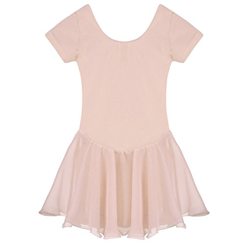 Arshiner Girls' Ruffle Sleeve Skirted Leotard (Ballet Pink, 130(Age for 5-6Y)) -