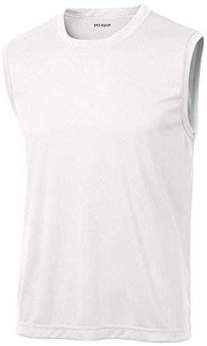 less Moisture Wicking Muscle T-Shirt-White-S ()